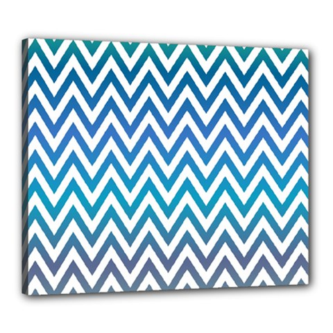 Blue Zig Zag Chevron Classic Pattern Canvas 24  X 20