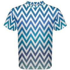 Blue Zig Zag Chevron Classic Pattern Men s Cotton Tee