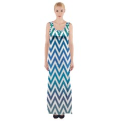 Blue Zig Zag Chevron Classic Pattern Maxi Thigh Split Dress