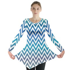 Blue Zig Zag Chevron Classic Pattern Long Sleeve Tunic