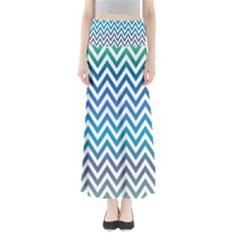 Blue Zig Zag Chevron Classic Pattern Full Length Maxi Skirt