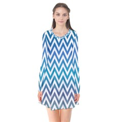 Blue Zig Zag Chevron Classic Pattern Flare Dress