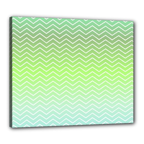 Green Line Zigzag Pattern Chevron Canvas 24  X 20