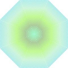 Green Line Zigzag Pattern Chevron Golf Umbrellas