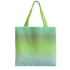 Green Line Zigzag Pattern Chevron Grocery Tote Bag by Nexatart