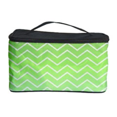 Green Line Zigzag Pattern Chevron Cosmetic Storage Case