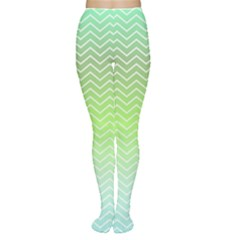 Green Line Zigzag Pattern Chevron Women s Tights