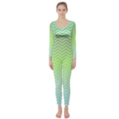 Green Line Zigzag Pattern Chevron Long Sleeve Catsuit