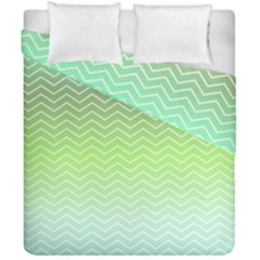 Green Line Zigzag Pattern Chevron Duvet Cover Double Side (california King Size)
