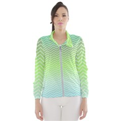 Green Line Zigzag Pattern Chevron Wind Breaker (women)