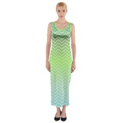 Green Line Zigzag Pattern Chevron Fitted Maxi Dress