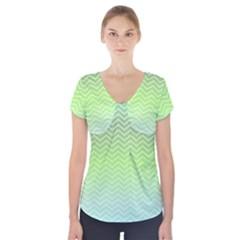 Green Line Zigzag Pattern Chevron Short Sleeve Front Detail Top