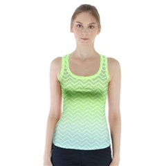 Green Line Zigzag Pattern Chevron Racer Back Sports Top