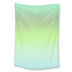 Green Line Zigzag Pattern Chevron Large Tapestry