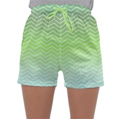 Green Line Zigzag Pattern Chevron Sleepwear Shorts