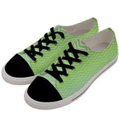 Green Line Zigzag Pattern Chevron Men s Low Top Canvas Sneakers by Nexatart