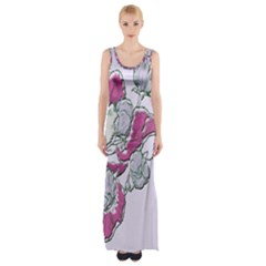 Bouquet Flowers Plant Purple Maxi Thigh Split Dress