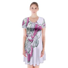Bouquet Flowers Plant Purple Short Sleeve V Neck Flare Dress