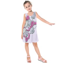 Bouquet Flowers Plant Purple Kids  Sleeveless Dress