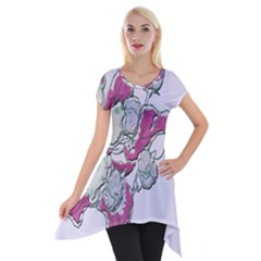 Bouquet Flowers Plant Purple Short Sleeve Side Drop Tunic