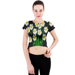 Bouquet Geese Flower Plant Blossom Crew Neck Crop Top