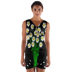 Bouquet Geese Flower Plant Blossom Wrap Front Bodycon Dress