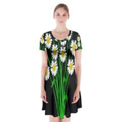 Bouquet Geese Flower Plant Blossom Short Sleeve V Neck Flare Dress