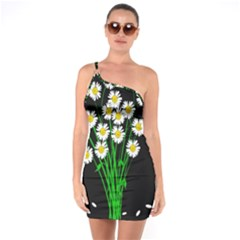 Bouquet Geese Flower Plant Blossom One Soulder Bodycon Dress