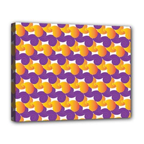 Pattern Background Purple Yellow Canvas 14  X 11