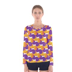 Pattern Background Purple Yellow Women s Long Sleeve Tee