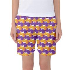 Pattern Background Purple Yellow Women s Basketball Shorts
