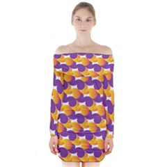 Pattern Background Purple Yellow Long Sleeve Off Shoulder Dress