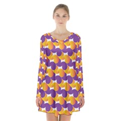 Pattern Background Purple Yellow Long Sleeve Velvet V Neck Dress