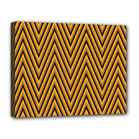 Chevron Brown Retro Vintage Canvas 14  X 11
