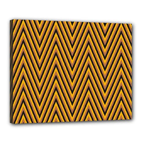 Chevron Brown Retro Vintage Canvas 20  X 16