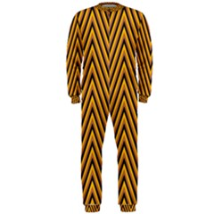 Chevron Brown Retro Vintage Onepiece Jumpsuit (men)