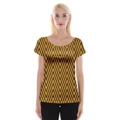 Chevron Brown Retro Vintage Cap Sleeve Tops