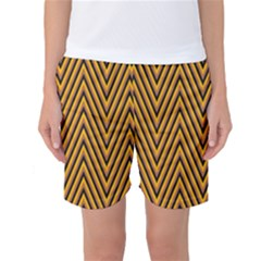 Chevron Brown Retro Vintage Women s Basketball Shorts