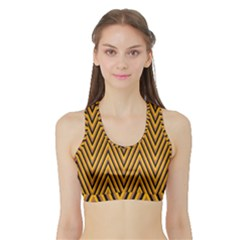 Chevron Brown Retro Vintage Sports Bra With Border