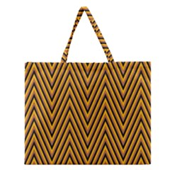 Chevron Brown Retro Vintage Zipper Large Tote Bag by Nexatart
