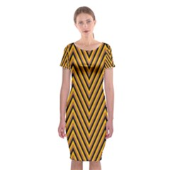 Chevron Brown Retro Vintage Classic Short Sleeve Midi Dress