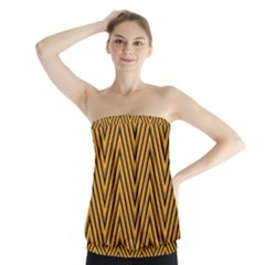 Chevron Brown Retro Vintage Strapless Top