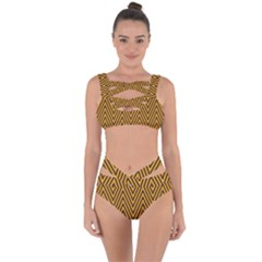 Chevron Brown Retro Vintage Bandaged Up Bikini Set