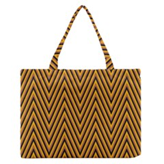 Chevron Brown Retro Vintage Zipper Medium Tote Bag