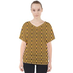 Chevron Brown Retro Vintage V Neck Dolman Drape Top