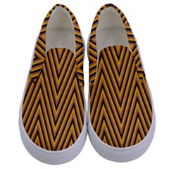Chevron Brown Retro Vintage Kids  Canvas Slip Ons