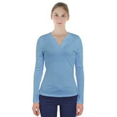 Blue Pattern Background Texture V Neck Long Sleeve Top