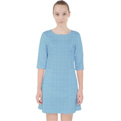 Blue Pattern Background Texture Pocket Dress