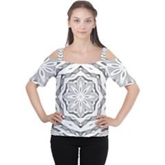 Mandala Pattern Floral Cutout Shoulder Tee