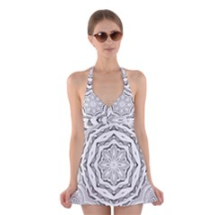 Mandala Pattern Floral Halter Swimsuit Dress